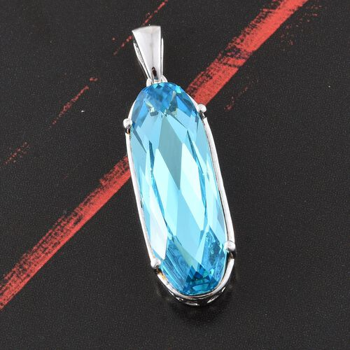 J Francis Crystal from Swarovski - Light Turquoise Colour Crystal Pendant in Platinum Overlay Sterling Silver