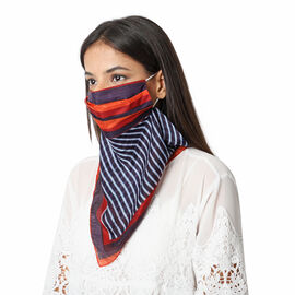 New Arrival- 2 in 1 Stripe Pattern 100% Mulberry Silk Scarf and Protective Face Covering in Red, Blu
