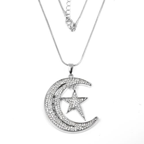 White Austrian Crystal (Rnd) Crescent Moon and Star Pendant With Chain (Size 30 with 2 inch Extender) in Silver Plated