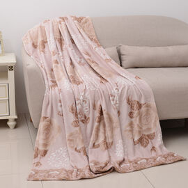 High Quality Hotel Luxury Plush Microfiber Rose Embossed 3D Effect-Finish Blanket (Size 200x150 Cm)
