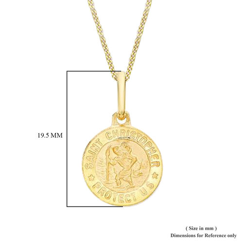 9K Yellow Gold St Christopher Medal Charm