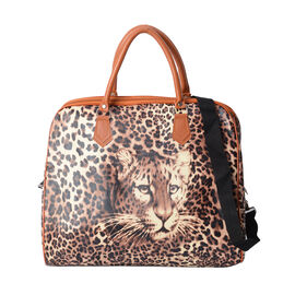 Brown Colour Leopard Pattern Water Resistant Weekend Bag (Size 43x16x38 Cm) with Zipper Closure and