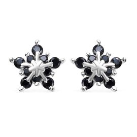 0.75 Ct Boi Ploi Black Spinel Starburst Design Stud Earrings in Sterling Silver