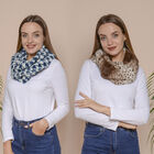 2 Piece Set - Houndstooth and Leopard Pattern Faux Fur Infinity Scarf  (Size 80x16 Cm) - Navy and Kh