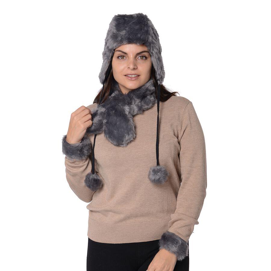 Romwe Grey V Neckline Fur Cuff Sweaters Women Casual: 4 Piece Set Soft Faux Fur Pompom Trooper Hat, Collar Scarf