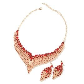 2 Piece Set - Red Austrian Crystal (Rnd) Chandelier Design Necklace (Size 19 with 3 inch Extender) a