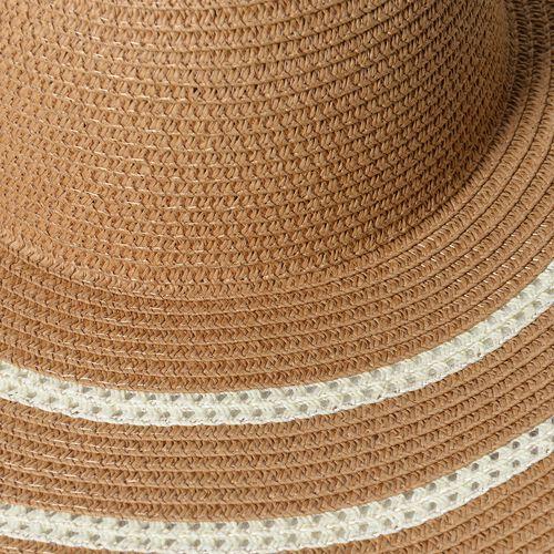 Orange and Dark Brown Colour Stripe Pattern Scarf (Size 155x50 Cm) with Hat (Size 41x11 Cm)