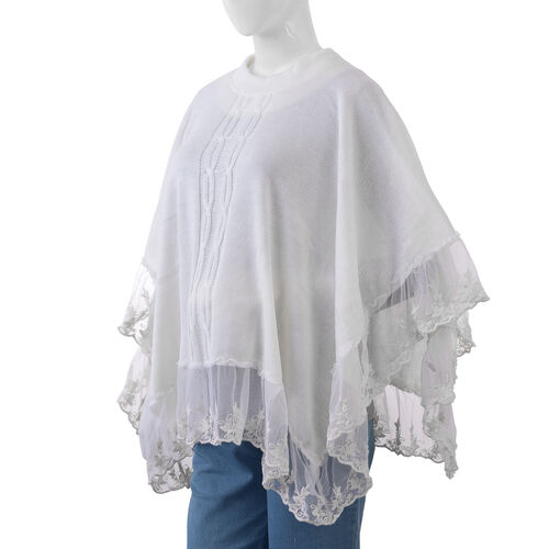 Cream Colour Poncho with Embellished Net Lace
