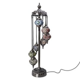 Handmade 7 Ball Turkish Mosaic Crystal Studded Table Lamp (Size 26x115 Cm) - Multi