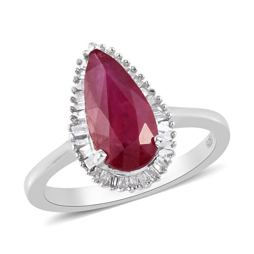 AA African Ruby and Diamond Ring in Platinum Overlay Sterling Silver 3.20 Ct.