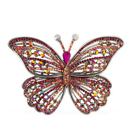 Multi Colour Austrian Crystal (Rnd), Simulated Diamond Butterfly Brooch in Silver Tone