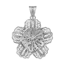 Royal Bali Floral Pendant in Silver