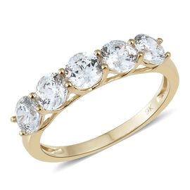 J Francis - 9K Yellow Gold (Rnd) 5 Stone Ring Made with SWAROVSKI ZIRCONIA
