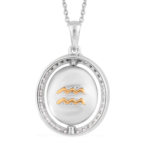 Natural Cambodian Zircon Zodiac-Aquarius Pendant with Chain (Size 20) in Yellow Gold and Platinum Overlay Sterling Silver, Silver wt. 7.50 Gms
