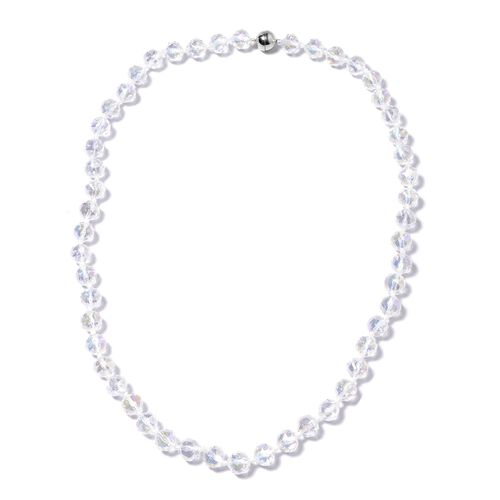 White Mystic Color Glass Beaded Necklace in Stainless Steel 28 Inch