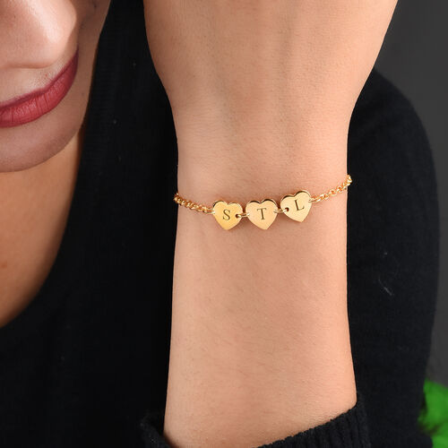 Engravable Initial Multi Heart Disc Bracelet Size 7.5Inch