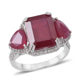 African Ruby (Oct 9.15 Ct), Natural White Cambodian Zircon Ring in Rhodium Plated Sterling Silver 12