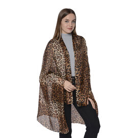 LA MAREY New Collection - 100% Mulberry Silk Leopard Print Scarf (Size 180x110cm) - Brown