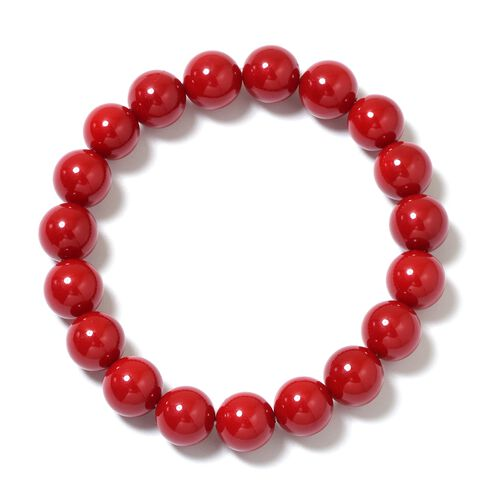Red Shell Pearl (Rnd), Graduated Necklace (Size 20) with Magnetic Lock, Strechable Bracelet (Size 7) and Stud Earrings (with Push Back) in Rhodium Plated Sterling Silver