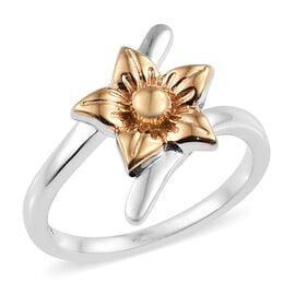 Platinum and Yellow Gold Overlay Sterling Silver Flower Bypass Ring
