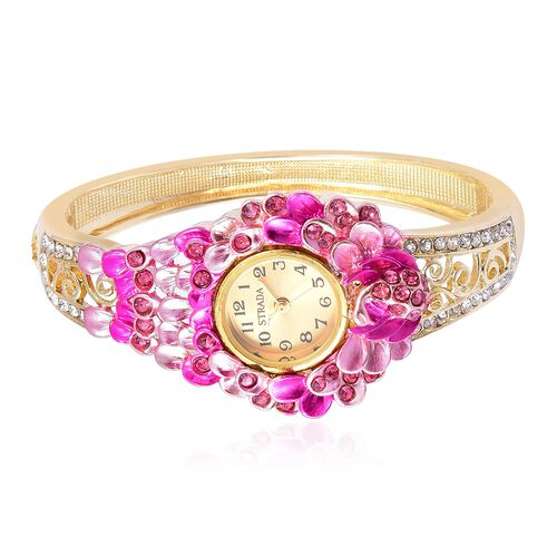 STRADA Japanese Movement Rose and White Austrian Crystal Fuchsia Oil Painted Peacock and Floral Design Bangle Watch in Yellow Gold Tone