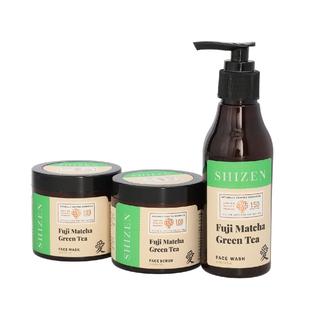 SHIZEN Combo of Fuji Matcha Green Tea Face Wash (5.07 oz ) Fuji Matcha Green Tea face scrub (3.38 oz