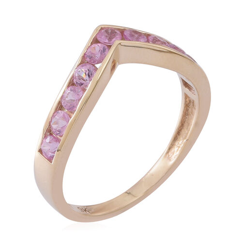 9K Yellow Gold AAA Pink Sapphire (Rnd) Wishbone Ring 1.250 Ct.
