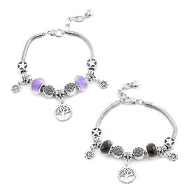 Set of 2 - Black and Purple Austrian Crystal Bracelet (Size 7.5 with 1.5 Inch Extender) with Charms in Silver Bond