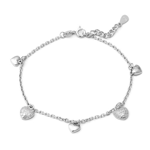 ELANZA AAA Simulated Diamond (Rnd) Adjustable Charm Bracelet (Size 7 with 1 inch Extender) in Rhodiu