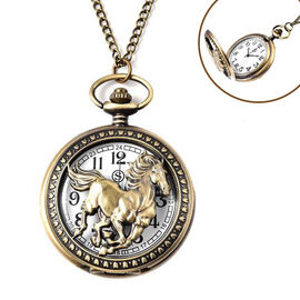 STRADA Japanese Movement Horse Pattern Pocket Watch with Chain (Size 31) in Antique Bronze Tone