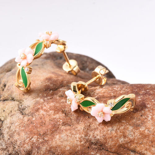 Jardin Collection - Pink Mother of Pearl and Natural Cambodian Zircon Floral Vine Enamelled Earrings (with Push Back) in Yellow Gold Overlay Sterling Silver