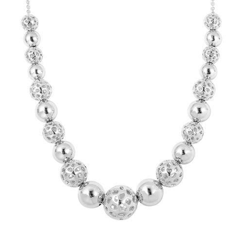 Super Auction- RACHEL GALLEY Rhodium Overlay Sterling Silver Graduated Globe Necklace with Magnetic Lock (Size 20), Silver wt 42.5 Gms.