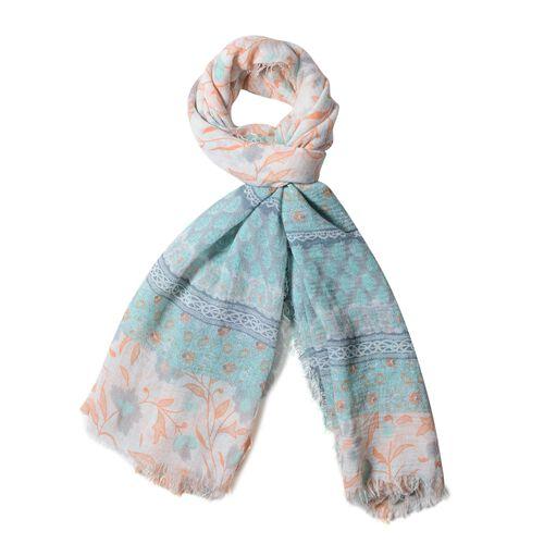 Epic Deal Green and Orange Colour Small Flower with Strip Pattern Scarf (Size 180x90 Cm)