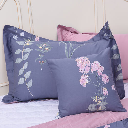 4 Piece Set - Floral Pattern 100% Mulberry Silk Filled Quilt with 100% Cotton Cover, 2 Pillow Cases and Cushion Cover (Size Double) -  Amethyst Colour