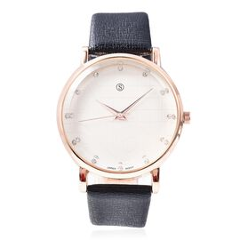 STRADA Japanese Movement White Austrian Crystal (Rnd) Water Resistant Watch in Rose Gold Plated - Bl