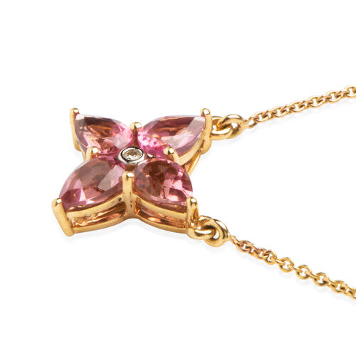 Limited Edition -14K Yellow Gold AAA Rio Grande Pink Tourmaline (Pear), Diamond Necklace (Size 18) 1.50 Ct.Total Metal Wt 3.00 Gms