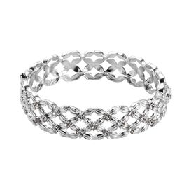 J Francis White Crystal from Swarovski Basket Weave Bangle in Platinum Plated 7.5 Inch
