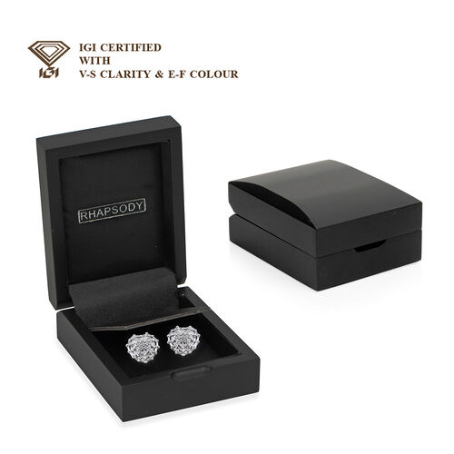9K White Gold SGL Certified Diamond (Bgt and Rnd) (I3/G-H) Heart Stud Earrings (with Push Back) 0.50 Ct.
