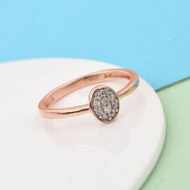 Diamond Ring in Rose Gold Overlay Sterling Silver 0.10 Ct.