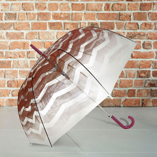 Blooms of London - Chevron Pattern Transparent and Coral Umbrella