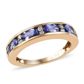 1.10 Ct Tanzanite and Diamond Eternity Band Ring in 9K Gold 2.45 Grams