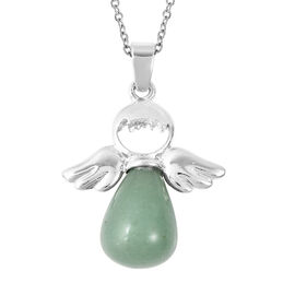 22 Carat Green Aventurine Solitaire Pendant with Chain