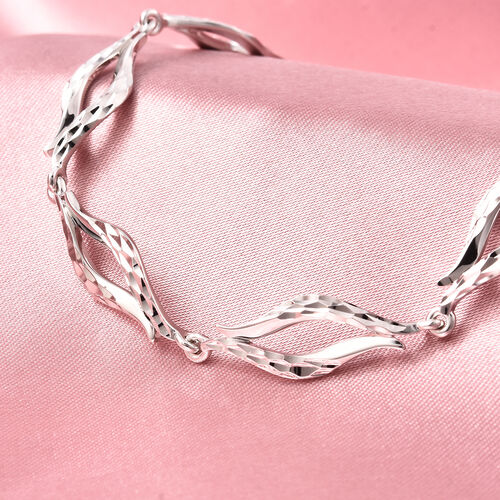 LucyQ Flame Collection - Rhodium Overlay Sterling Silver Bracelet (Size 8.5). Silver WT 9.20 Gms