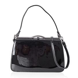 Boutique Limited Collection High Glossed Vintage Style Classic Black Handbag with Removable Shoulder Strap (Size 28x17x9.5 Cm)