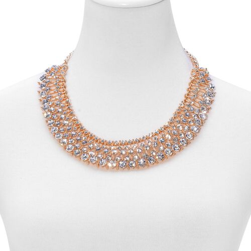 AAA White Austrian Crystal Necklace (Size 20 with Extender) in Gold Tone