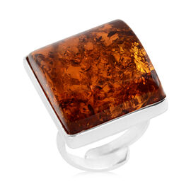 Baltic Amber Adjustable Solitaire Ring in Sterling Silver 5.30 Grams