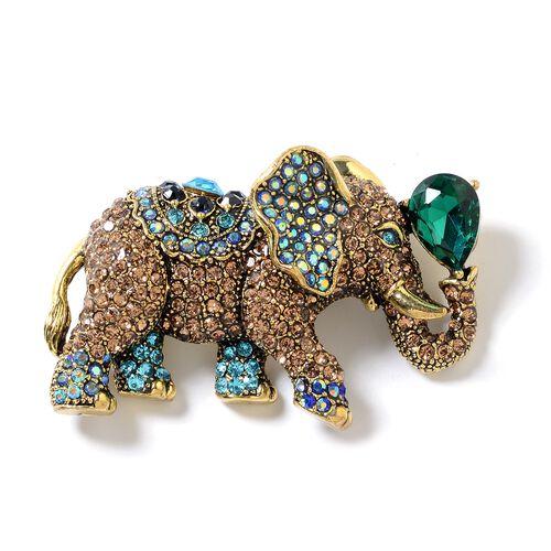 Multi Colour Austrian Crystal (Rnd), Simulated Emerald Elephant Brooch in Gold Tone
