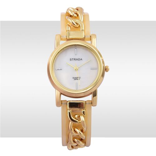 STRADA Japanese Movement MOP Dial Watch in Gold Tone with Stainless Steel Back and Yellow Colour Strap