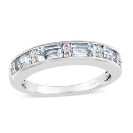 Aquamarine and Natural Cambodian Zircon Band Ring in Platinum Overlay Sterling Silver 1.04 Ct.