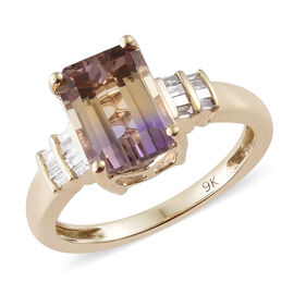 Preview Auction-9K Yellow Gold AAA Anahi Ametrine (Oct 2.40 Ct), Diamond Ring 2.500 Ct.